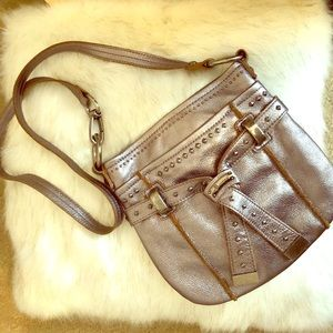 B. Makowsky silvery leather stud accent Crossbody
